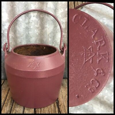 ANTIQUE VINTAGE Solid Cast Iron CLARK & Co CHUNKY GLUE POT