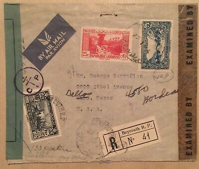 Beirut Lebanon  1944 Double Censored Registered Cover To USA Interesting !!!
