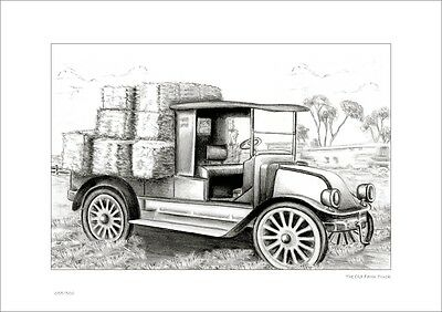 Old Farm Hay Truck     Australian Pencil  Drawing   Limited Edition Print