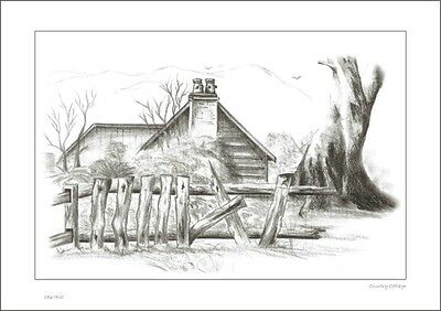Country Cottage      Australian    Pencil  Drawing   Limited Edition Print