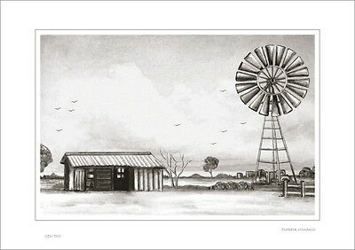 Outback Windmill      Australian Pencil  Drawing   Limited Edition Print