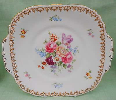 "Crown Staffordshire England's Bouquet squared 9"" cake plate  vintage bone china"