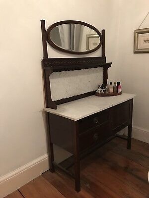 Vintage Marble Top Dressing Table Cupboard Washstand - Could Upcycle