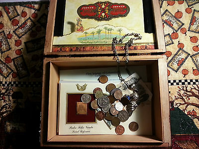 Treasure Wood Box, With Silver & Mixed Coins, Jewlery, Gold Clad Stamp Set LOT