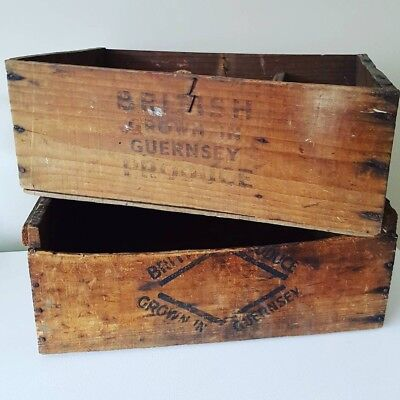 Pair of vintage produce crates - old wooden storage boxes