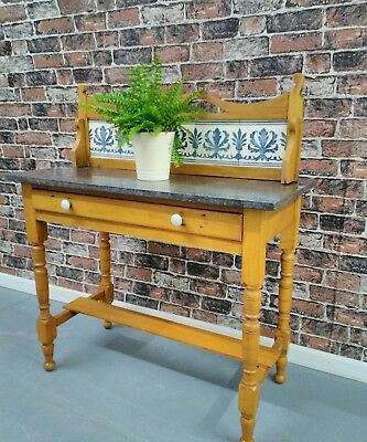 vintage antique farmhouse pine wash stand table with black marble top