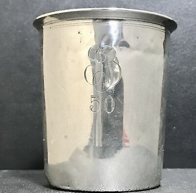 Antique French Sterling Solid Silver 950  Beaker Cup , Hallmarked 19th