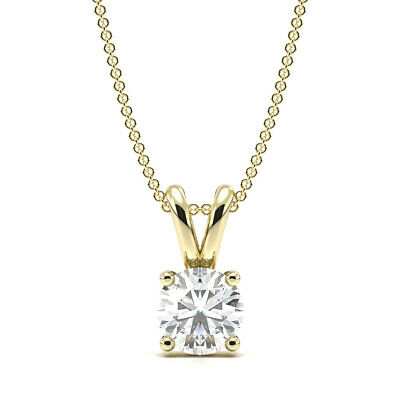 1/2ct I1/HI Natural Diamond 9K Yellow Gold Solitaire Diamond Pendant Necklace
