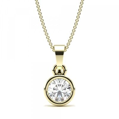 1/5ct I1/HI Natural Round Diamond 18K Yellow Gold Solitaire Pendant Necklace