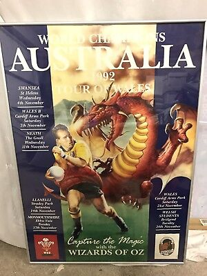 1992 Australia Tour of Wales David Campese Framed Rugby Poster