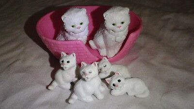 "M E G Inc.1997 Rubber Plastic 1.5"" Model 6 piece Cat family with basket"