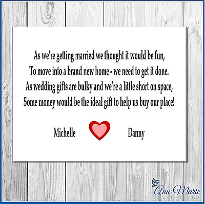 10 Wedding Money Personalised Poem / Gift Poem Card / Honeymoon Wish Poems Cards