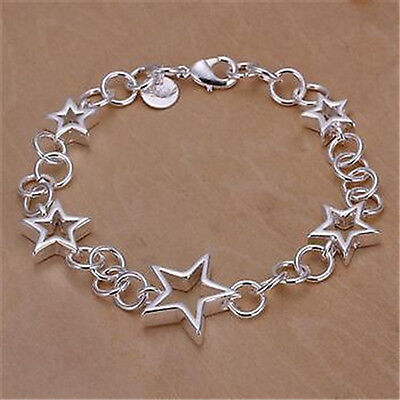 FREE P&P Sold 925 Silver Jewellery STAR Chain Style Ladies Charm Bracelet Bangle