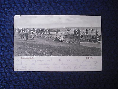 Postcard Children On Rocks, Felixstowe, Suffolk