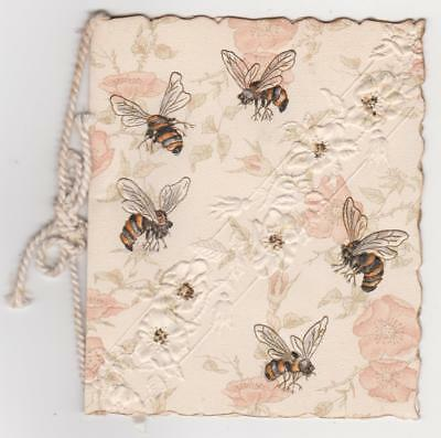 Victorian Christmas Card ,bees And Flowers ,embossed  Folded Type  1895