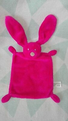 Doudou plat lapin SIMBA TOYS BENELUX rose fushia rectangle Kiabi COMME NEUF