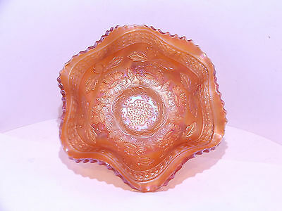Carnival glass Fenton Marigold Two Flowers bowl dish 3 footed bonbon dish