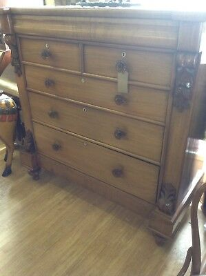 STUNNING Victorian Chest Of Drawers In Walnut With Will Drawer & Glass Knobs