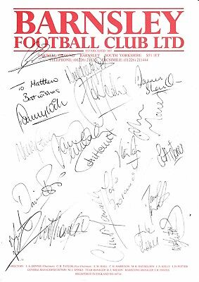 Barnsley FC - 1996-97 Signed A4 Team Sheet (Signed by 19 inc Hendrie, Wilson)