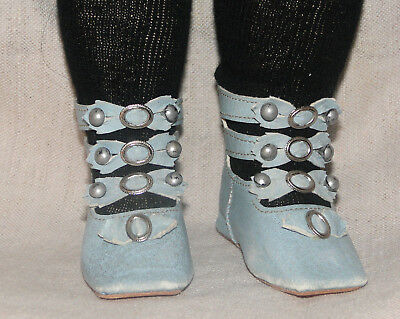 "Leather aqua blue shoes boots French Jumeau style for antique doll 2"" 7/8"