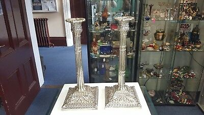 "Georgian / Victorian Silver Plate 12"" Candlestick Pair marked ""J"" on base."