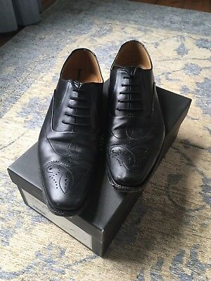 Mens Black Leather Loake Gunny Brogues Size 8F