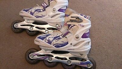 Roces Moody 2.0 girl in line skates white/purple uk size 3 - 6 adjustable