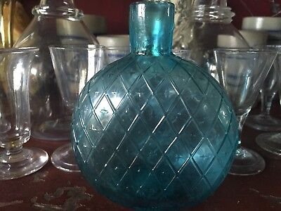 Antique Early Glass Diamond Quilted Flask Pitkin Bottle Rare Aqua W/ Pontil >NR