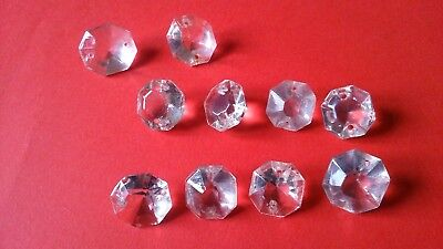 10 various size Antique Cut Glass chandelier crystals-to repair or for craft use