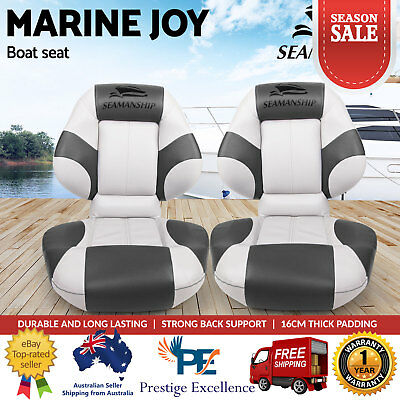 Seamanship 2X Folding Boat Seats Seat Marine Seating Set All Weather Swivels NEW