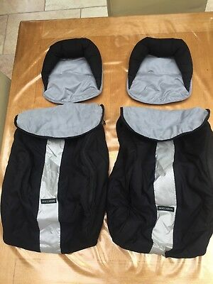 2 x Maclaren Twin Techno Footmuff/Cosy Toes & head pillows (Black/Silver)