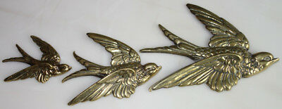Brass Art Deco Flying Swallows Ducks/geese Wall Plaques