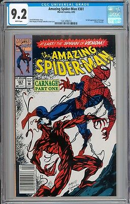 Amazing Spider-Man #361 CGC 9.2 NM- RARE Newsstand Variant WHITE PAGES New Slab
