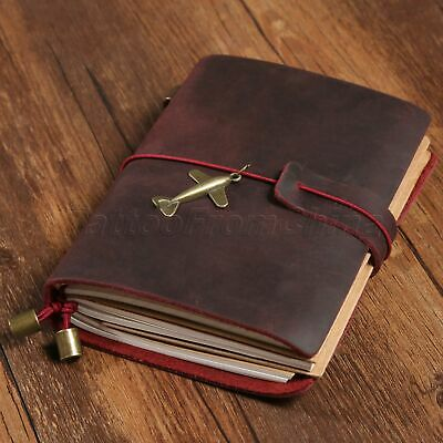Vintage Wine Red Leather Travel Notebook Notepad Journal Diary Passport Memo