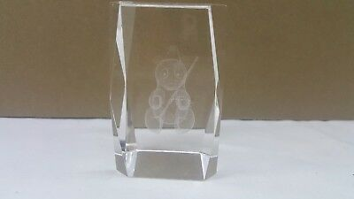 Panda Bear Bamboo Art Glass Paperweight Clear Frosted