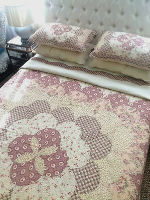 French Country Vintage Inspired Patchwork Bed Quilt Coverlet BERRY THROW New