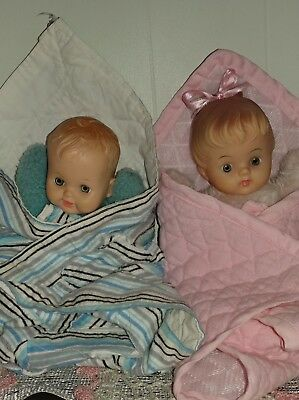 VINTAGE CUDDLES DOLLS 1950,BOTH 8 inch and both come with their own blanket s