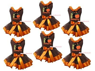 My 1st 2nd 3rd Thanksgiving Brown Top Brown Orange Trim Skirt Girl Outfit NB-8Y