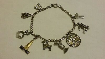 Estate Find Vintage Charm Bracelet Some Charms Sterling Silver Dog Tongs Bugle