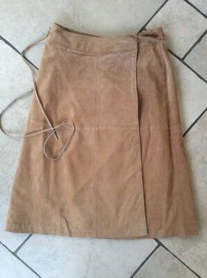 Vtg Ladies Real Suede Skirt Sz 12, Light Tan , Wrap Around , Lined , Quality