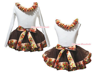 Plain White Cotton Top Brown Orange Turkey Satin Trim Skirt Girl Outfit NB-8Y