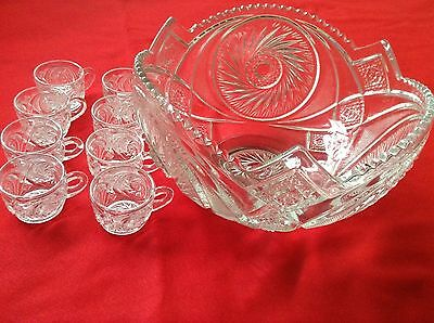 Vintage Depressed glass punch bowl 9pc