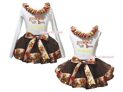 Gobble Till You Wobble White Top Brown Turkey Satin Trim Skirt Girl Outfit NB-8Y