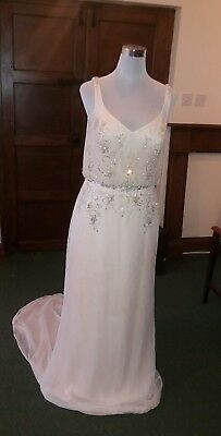 Maggie Sottero Designer Wedding Dress Champagne Sheer Beaded Size 12 Diamante