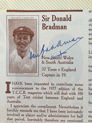 1977 Don Bradman Hand signed Article on England v Australia 100yrs test cricket