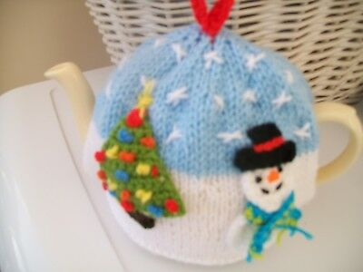 Hand Knitted Snowscene  Christmas Tea Cosy For A Medium Teapot 3-4 Cup Size