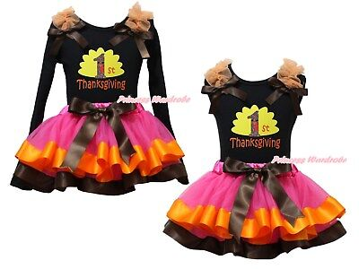 1st Thanksgiving Black Cotton Top Hot Pink Satin Trim Skirt Girl Outfit NB-8Y