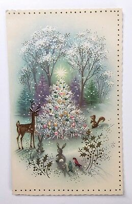 Vintage Card Christmas Tree Ornament Pink Bird Deer Bunny Squirrel Gold Holly A+