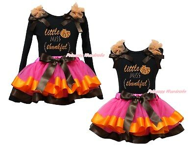 Little Miss Thankful Black Top Hot Pink Satin Trim Skirt Girl Outfit Set NB-8Y