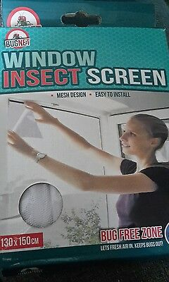 Bug Net Window Insect Screen 130 x 150cm NEW